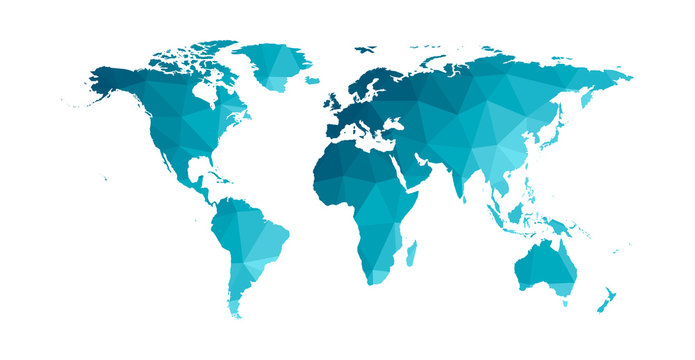 Vector isolated simplified world map. Blue gradient silhouettes, white background. Low poly style. Continents of South and North America, Africa, Europe and Asia, Australia, Indonesian islands