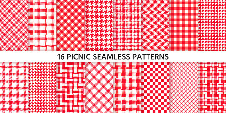 Picnic tablecloth seamless pattern. Red gingham backgrounds. Vector. Plaid cloth napkin textures. Set checkered kitchen prints. Retro wallpaper with check square glen houndstooth. Color illustration