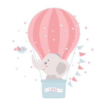 Cute baby elephant in a hot air balloon. Vector illustration for baby shower, greeting card, party invitation, fashion clothes t-shirt print.