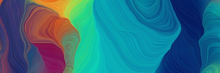 motion colorful curves header design with teal blue, sienna and dark cyan colors