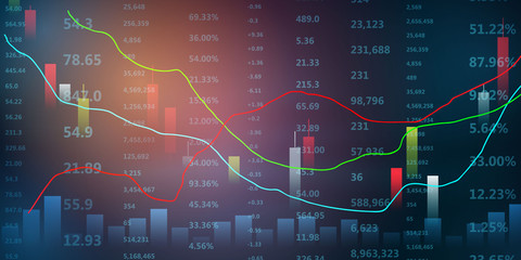 stock market crash caused by, economic graph with diagrams, business and financial concepts and reports, abstract blue technology communication concept vector background