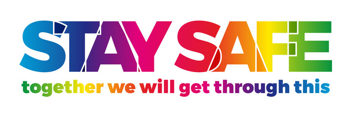 The word Stay Home, save you by coronavirus. Vector banner with the text colored rainbow.