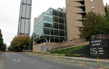 A general view show an empty street outside the Johannesburg Stock Exchange (JSE) in Sandton