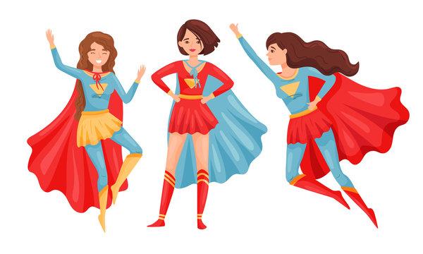 Women Superheros Wearing Cloak and Posing Vector Set