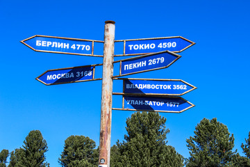 pillar with directions and signs to cities: Berlin, Tokyo, Moscow, Vladivostok, Beijing, Ulan Bator...