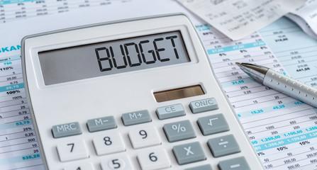 Fotomurales - Taschenrechner mit Dokumenten - Budget