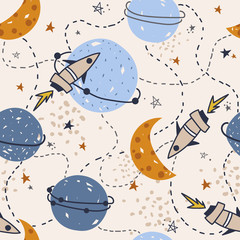 Stars, planets, constellations, rockets, seamless pattern vector. Hand drawn backdrop, night sky. Colorful overlapping background, outer space. Decorative wallpaper, good for printing for observatory