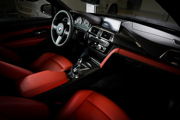 Sankt-Petersburg, Russia, January 30, 2017 : BMW M4 car interior showingred leather cockpit , test drive on January 30, 2017  in Russia, Sankt-Petersburg