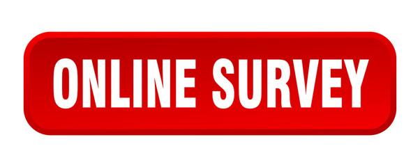 online survey button. online survey square 3d push button