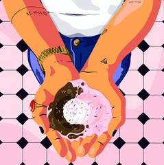 Illustration of woman's hands holding ice cream