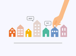 Fototapeta Hand holding home with Buy or Rent speech bubbles. House selection, house project, real estate concept, flat style illustration. obraz