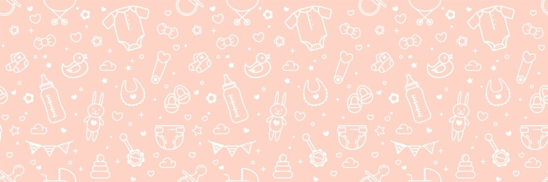 Baby Related Seamless Pattern In Pink Colors. Vector Cartoon Illustration