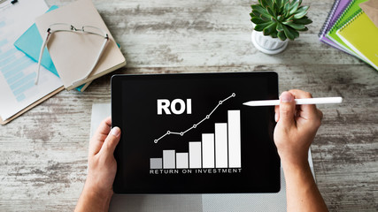 ROI, Return on investment, Business and financial concept.