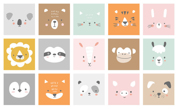 Cute simple animal portraits - hare, tiger, bear, sloth, cat, koala, fox, alpaca, llama, panda, penguin, lion, dog, goat, pig. Designs for baby clothes. Hand drawn characters. Vector illustration.