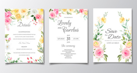 Elegant wedding invitation card set template with colorful flower and greenery leaves
