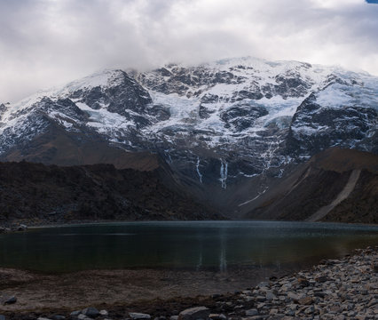Huamantay Lake with snowcapped Huamantay Mountain in the background, Salkantay Trek, Peru
