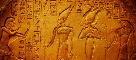 Fototapeta Ancient Egypt hieroglyphics with pharaoh and ankh obraz