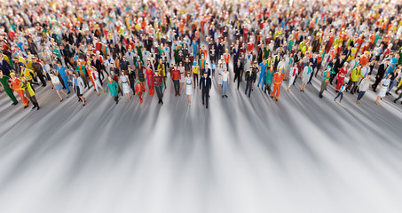 Crowd of people walking in one direction. Low poly style.