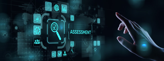 Assessment analysis Business analytics evaluation measure technology concept. Wall mural