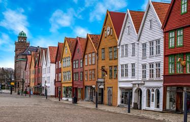 Fotomurales - Bryggen, Bergen, Norway. Hanseatic heritage commercial wooden buildings in the city of Bergen.