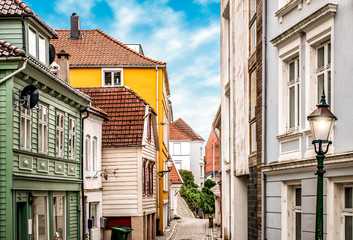Fotomurales - Traditional colored houses in city centre of Bergen, Norway.