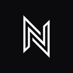 N letter liner logo design