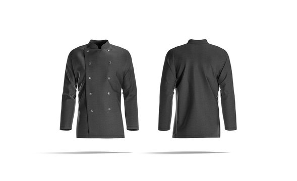 Blank black chef jacket with buttons mockup, front and back
