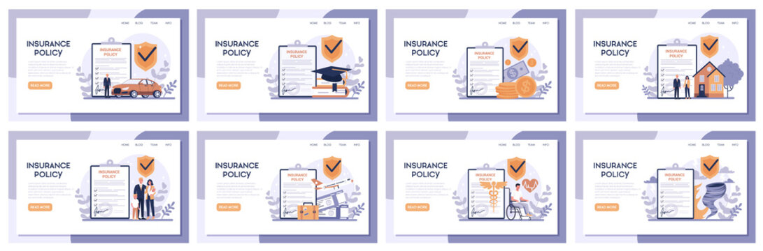 Insurance web banner set. Idea of security and protection of property