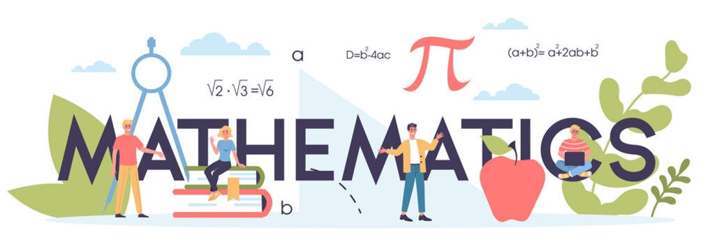 Math school subject. Learning mathematics, idea of education