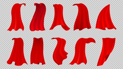 Red cloak. Textile silk cape, hero or king garment. Isolated party clothing, flowing fabric waves or curtains. Flying scarf vector collection. Fabric cloak, satin hero, costume material illustration