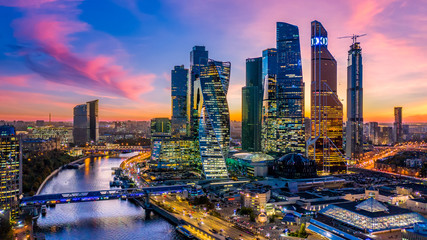 Moscow city skyscraper and skyline architecture, Moscow international business financial office with Moscow river, Aerial view skyscraper of Moscow City business center in autumn season, Russia. Fotobehang