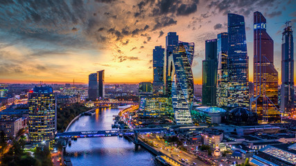 Moscow city skyscraper and skyline architecture, Moscow international business financial office with Moscow river, Aerial view skyscraper of Moscow City business center in autumn season, Russia. Wall mural