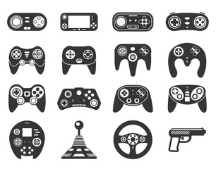 Black game console. Video games joystick, playing device. Isolated computer gadgets, controller and consoles silhouette. Gaming vector icons. Gadget game, play gaming entertainment illustration