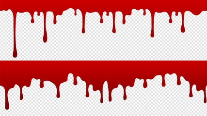 Dripping blood pattern. Isolated flowing red paint with drops borders. Medicine, science vector seamless element. Blood splatter, sweet blob liquid illustration