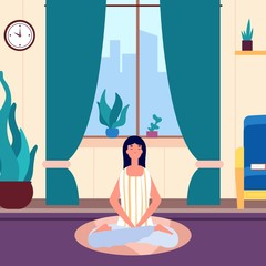 Meditation woman. Girl keep calm in living room. Yoga workout, morning or evening relax. Female saving balance vector illustration. Girl yoga health and workout, female exercise meditate