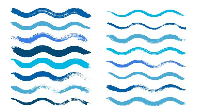 Wave brush. Cyan water waves, isolated dirty grunge painted paintbrush. Blue graphic hand drawn vector elements. Brush ink texture, stroke grunge splash, sketch stain illustration