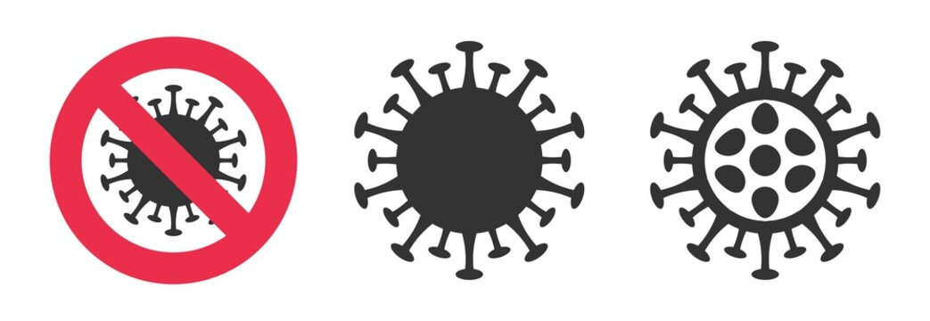 2019-nCoV symbol set. Stop coronavirus Stay home sign. Pandemic medical caution. Dangerous cell in red circle, black simple bacteria isolated on white. China Wuhan corona virus vector illustration