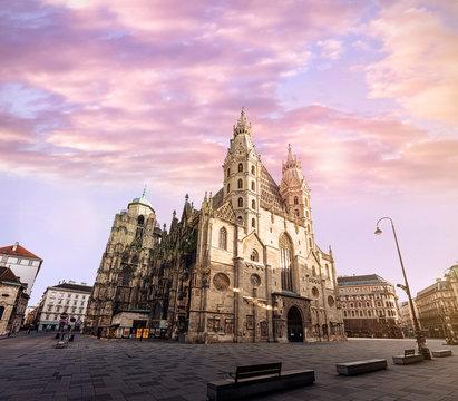 Deserted Stephansplatz of Vienna due the corona virus covid 19 crisis with the famous landmark Stephansdom