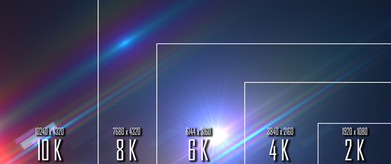 10K/ 8K/ 6K / 4K / 2K tv resolution display with comparison of resolutions. 3D render