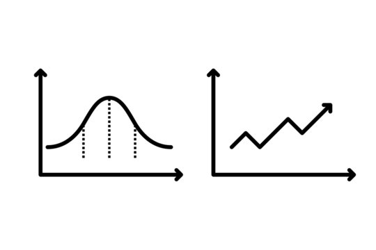 Business chart with arrow/ Business graph and chart/ Normal Distribution vector graphic