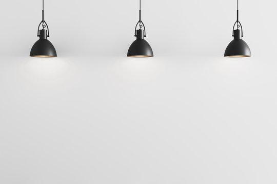 Three black pendant light on white wall background, ceiling lights, white wall with pendant lights mockup, 3d rendering