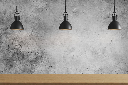 Three black pendant light above wooden surface on gray concrete wall background, ceiling lights, 3d rendering