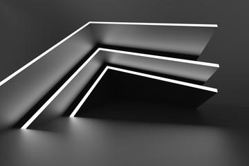 Fotobehang - Black Modern Hall. Modern Geometric Wallpaper