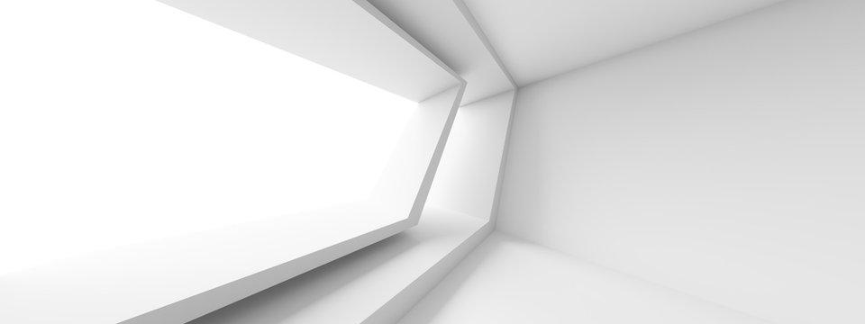 Futuristic Interior Design. White Room with Window. Minimalistic Abstract Architecture Background