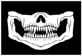 mask of face with skull and predator teeth Fotoväggar