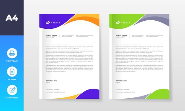 Colorful and Modern Business letter head templates for your project, Vector design illustration.