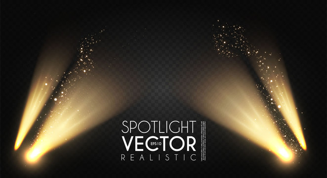 Spotlight. Transparent light effect. Show design. Light source. Empty scene.