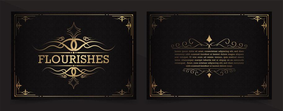 Vintage flourishes ornament swirls lines frame template vector illustration.