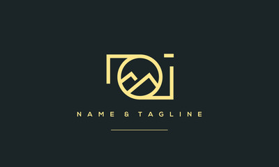 A line art icon logo of a Mountain photography