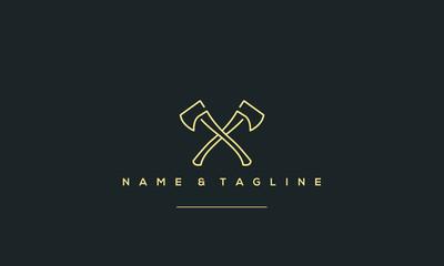 A line art icon logo of a AXE